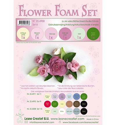49286 Leane Creatief Foam Set ,8 6 Sheets A4 0,8MM Old Rose Colours (25.4988).