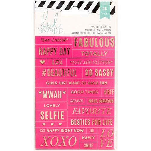 49299 Heidi Swapp Word Stickers 26/Pkg Pink/Gold (312247).