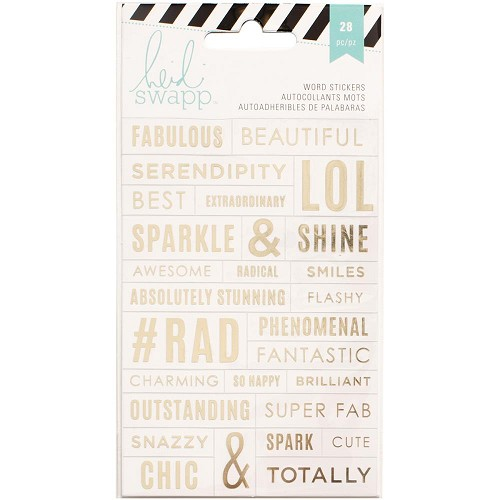 49301 Heidi Swapp Word Stickers Clear/Gold (312245).