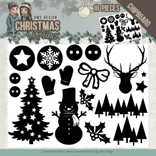 49496 Chipboard - Amy Design - Christmas Wishes - afbeelding (ADCB1003).