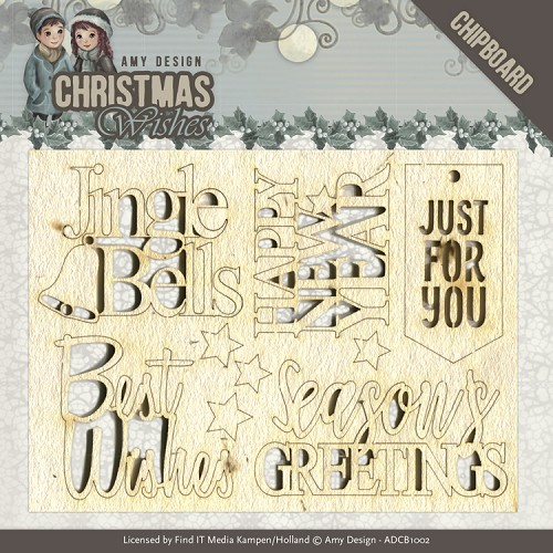 49497 Chipboard - Amy Design - Christmas Wishes - Text (ADCB1002).