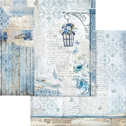 "49533 Stamperia Double-Sided Cardstock 12""X12"" Blue Land Lamp (SBB562)."