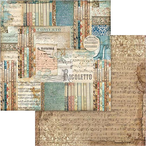 "49535 Stamperia Double-Sided Cardstock 12""X12"" Music Rigoletto (SBB564)."