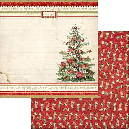 "49538 Stamperia Double-Sided Cardstock 12""X12"" Christmas Vintage Christmas Tree (SBB567)."