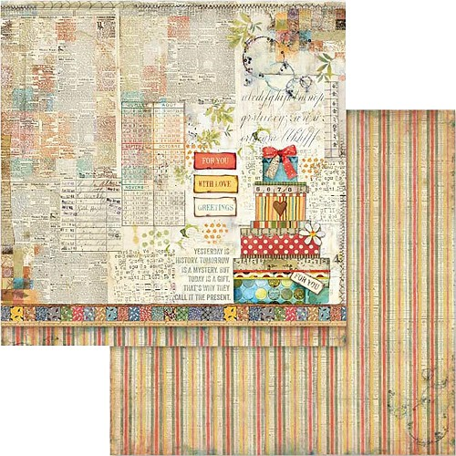 "49542 Stamperia Double-Sided Cardstock 12""X12"" Patchwork Gift (SBB571)."