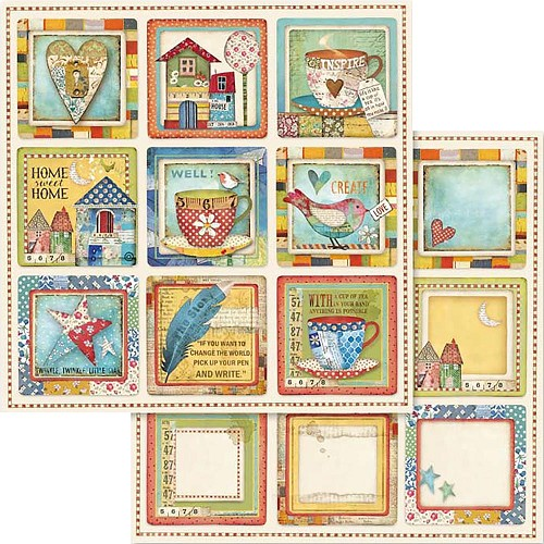 "49543 Stamperia Double-Sided Cardstock 12""X12"" Patchwork Cards Cups (SBB572)."