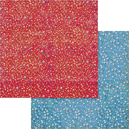 "49544 Stamperia Double-Sided Cardstock 12""X12"" Patchwork Flowered Texture Red & Blue (SBB573)."