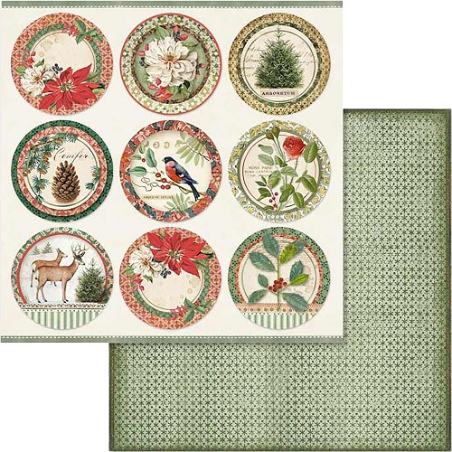 "49546 Stamperia Double-Sided Cardstock 12""X12"" Winter Botanic Spheres (SBB575)."
