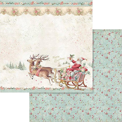 "49549 Stamperia Double-Sided Cardstock 12""X12"" Pink Christmas Santa Claus W/Sledge (SBB578)."