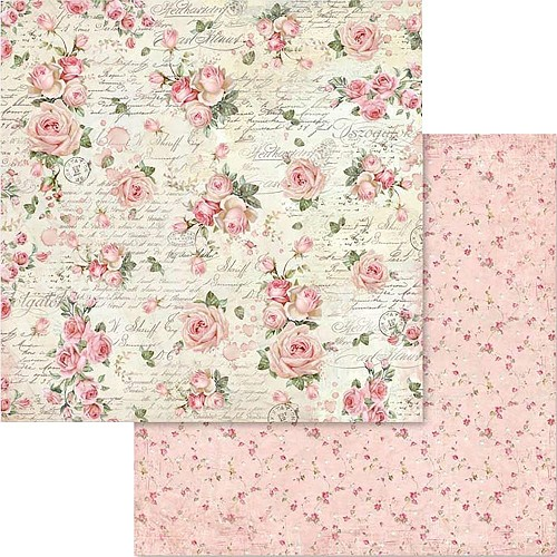 "49550 Stamperia Double-Sided Cardstock 12""X12"" Little Roses & Scriptures (SBB579)."
