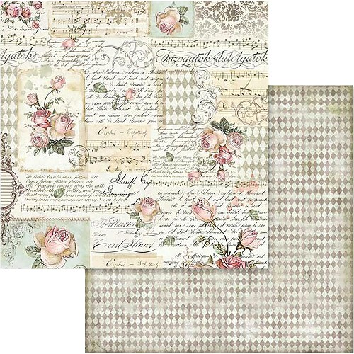 "49552 Stamperia Double-Sided Cardstock 12""X12"" Rose W/Scriptures (SBB581)."