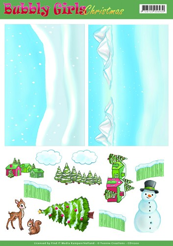 49571 (1126) Background Sheets - Yvonne Creations - Bubbly Girls Christmas - 2 (CD11200).