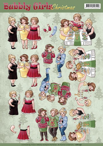49576 (1016) Yvonne Creations - Bubbly Girls Christmas - Cheers (CD11192).