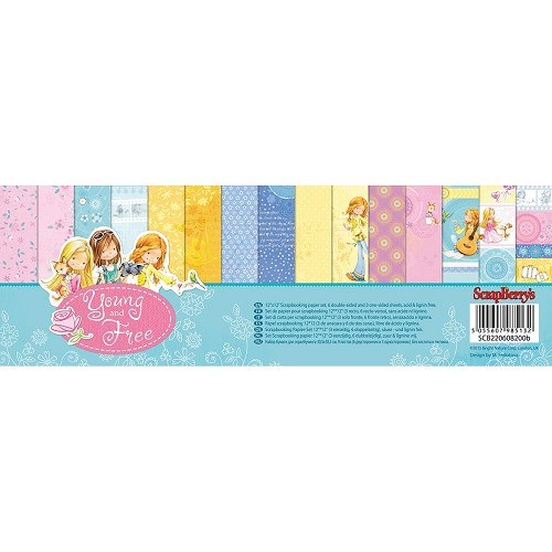 "49647 ScrapBerry`s Young And Free Paper Pack 12""X12"" 9/Pkg 6 Double-Sided & 3 Single-Sided."