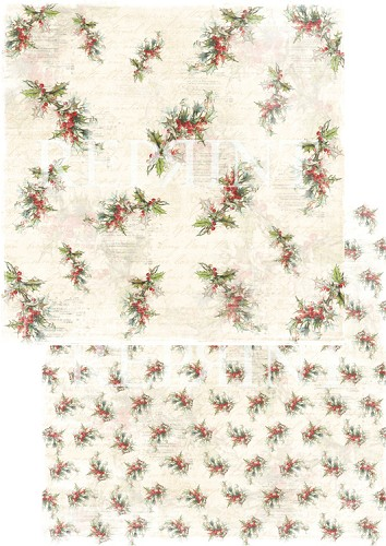 49746 Reprint Nordic Light Collection Patterned Paper 12x12, 200 gm Holly Berries.
