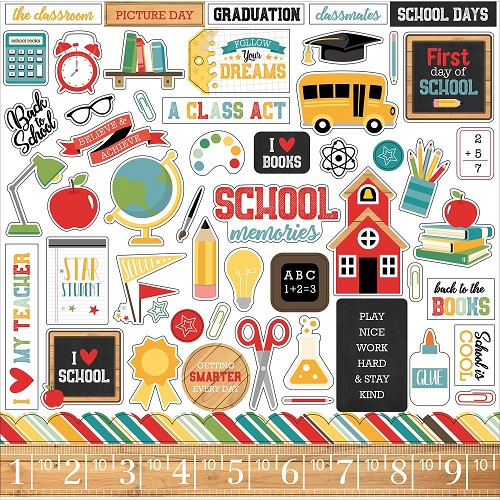 "49750 Echo Park Back To School Cardstock Stickers 12""X12"" Elements."