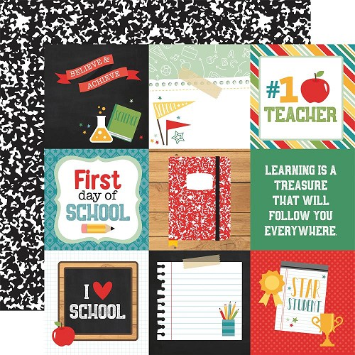 "49751 Echo Park Back To School Double-Sided Cardstock 12""X12-""4""X4"" Journaling Cards."