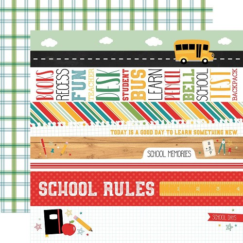 "49753 Echo Park Back To School Double-Sided Cardstock 12""X12-""4""X6"" Border Stripes."