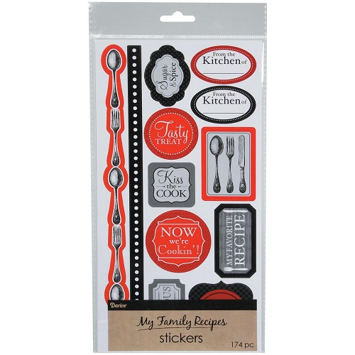 49780 My Family Recipes Stickers Cutlery.