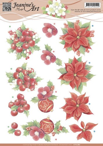 49865 CD10780 3D Knipvel - Jeanine`s Art - Red Christmas Flowers.