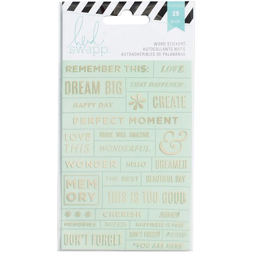 49868 Heidi Swapp Word Stickers 26/Pkg Mint/Gold.