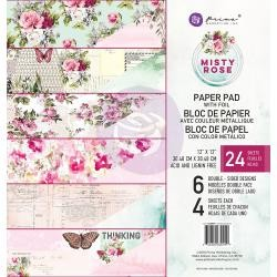 "49960 Prima Marketing Double-Sided Paper Pad 12""X12"" 24/Pkg Misty Rose, 6 Foiled Designs/4 Each."