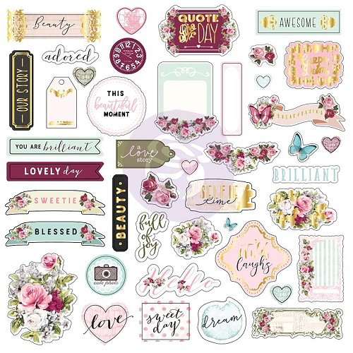 49964 Prima Marketing Misty Rose Ephemera & Stickers #1 (43) Ephemera & (26) Stickers W/Foil.
