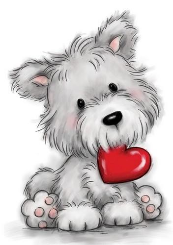 49985 Wild Rose Studio`s A7 Stamp Set Dog with Heart (CL503).