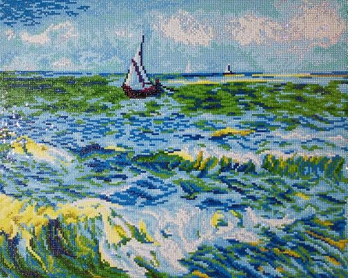 50055 DD12.029 Diamond Dotz - Seascape at Saint Maries (Van Gogh) 55x45 cm(design size).