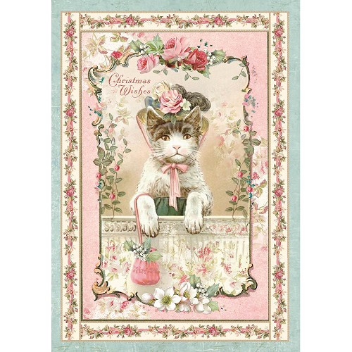50056 Stamperia Rice Paper Sheet A4 Pink Christmas Kitten.