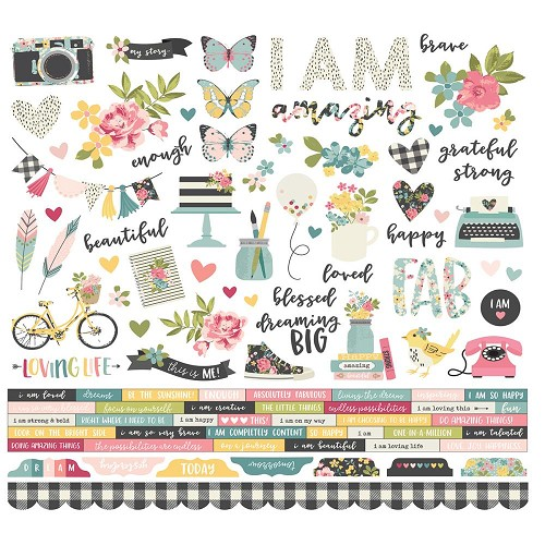 "50093 Simple Stories I Am Cardstock Stickers 12""X12""Combo."