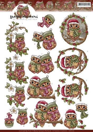 50129 (964) 3D Knipvel - Yvonne Creations - Christmas Owls  (CD11177).