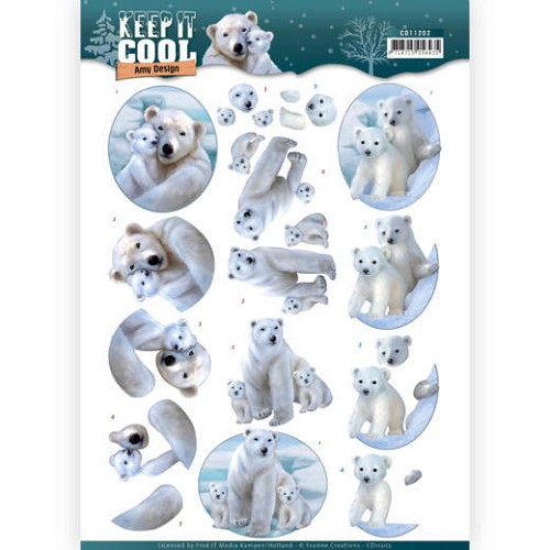 50190 3D knipvel - Amy Design - Keep it Cool - Cool Polar Bears (CD11202).