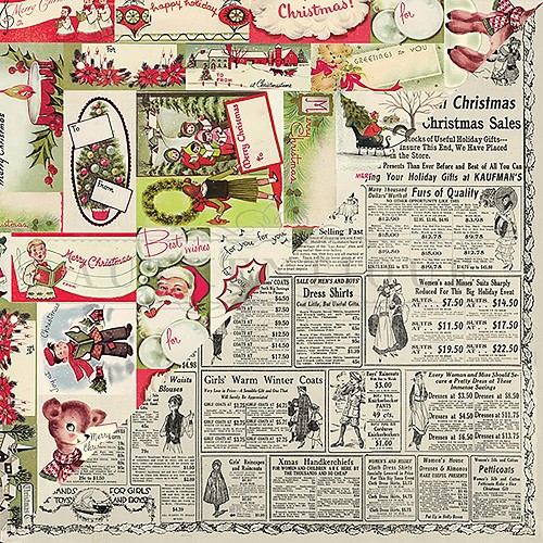 "50313 Authentique Nostalgia Double-Sided Cardstock 12""X12""#1 Gift Tag Collage."