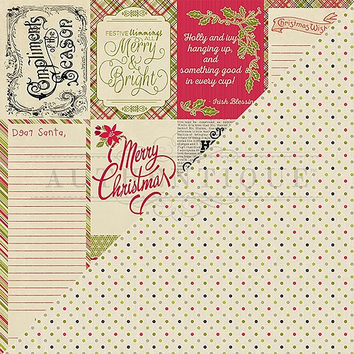"50318 Authentique Nostalgia Double-Sided Cardstock 12""X12""#8 Greetings & Wish Lists Cut-Aparts."