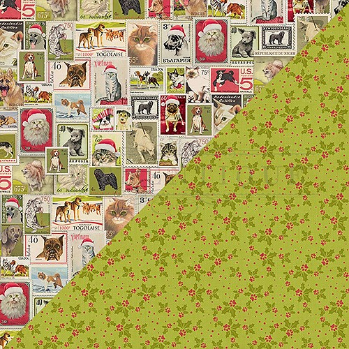 "50320 Authentique Nostalgia Double-Sided Cardstock 12""X12""#11 Pet Postage Stamps."