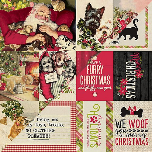 "50321 Authentique Nostalgia Double-Sided Cardstock 12""X12""#12 Pet Christmas Cut-Aparts."