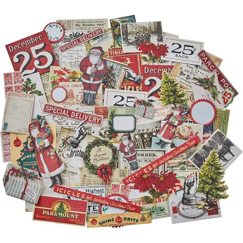 50347 Tim Holtz Idea-Ology Ephemera Pack 86/Pkg Snippets Tiny Die-Cuts/Christmas (TH93765).