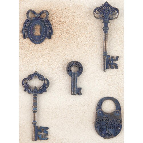 50372 Prima Marketing Metal Patina Trinkets Keys 5/Pkg (584894).