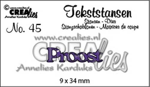 50402 Crealies Tekststans no 45 Proost (NL) (CLTS45) 9x34mm.