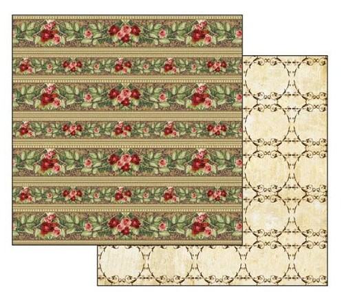 "50446 Stamperia Double-Sided Cardstock 12""X12"" Borders Of Red Roses (SBB263)."