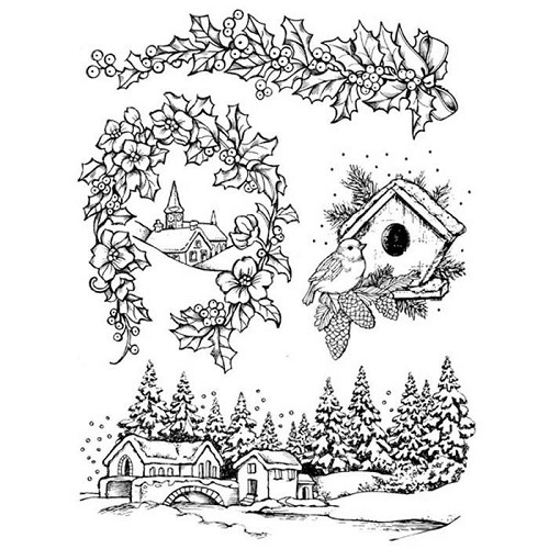 50556 Stamperia Natural Rubber Stamp Christmas 14x18 cm (WTKCC110).