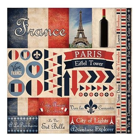 "50568 Reminisce France Elements Stickers 12""X12""."