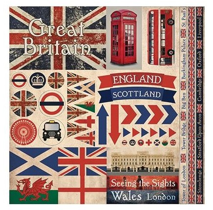 "50570 Reminisce Great Britain Elements Stickers 12""X12""."