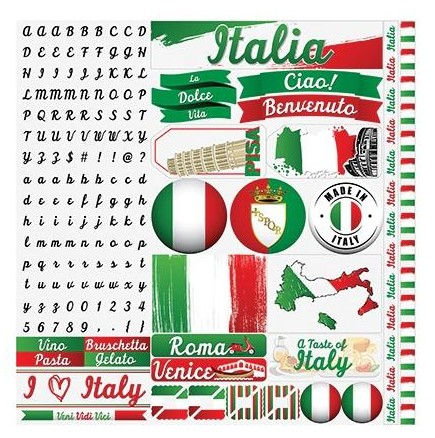 "50572 Reminisce Italy Elements Stickers 12""X12""."