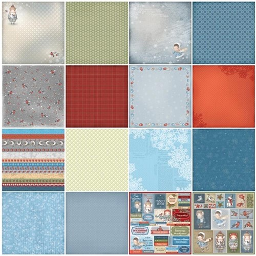 "50576 ScrapBerry`s Once Upon A Winter Paper Pack 12""X12"" 9/Pkg 7 D-Sided & 2 S-Sided."