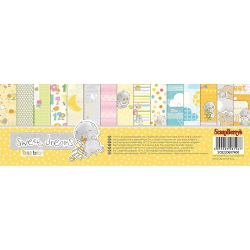 "50580 ScrapBerry`s Sweet Dreams Paper Pack 12""X12"" 9/Pkg 6 D-Sided & 3 S- Sided."