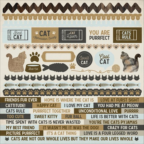 "50581 Kaisercraft Pawfect Cardstock Stickers 12""X12""Cat."