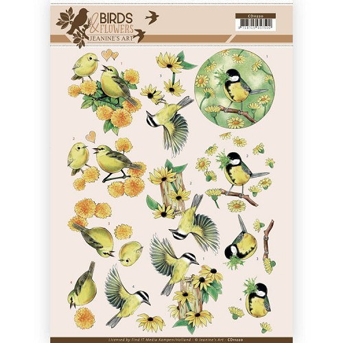 50698 3D Knipvel - Jeanine`s Art - Birds and Flowers - Yellow  Birds (CD11220).