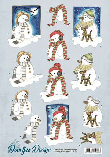 50714 (1083) 3D Knipvel - Doortjes Design - Snowmen (CD11226).